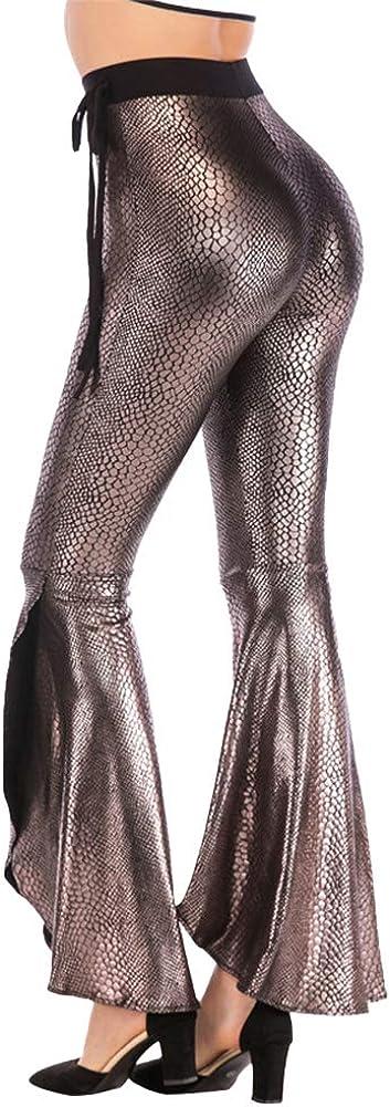 OwlFay Women Snakeskin Print Leggings Split Flare Pants Loose Fit Bell Bottom Trousers