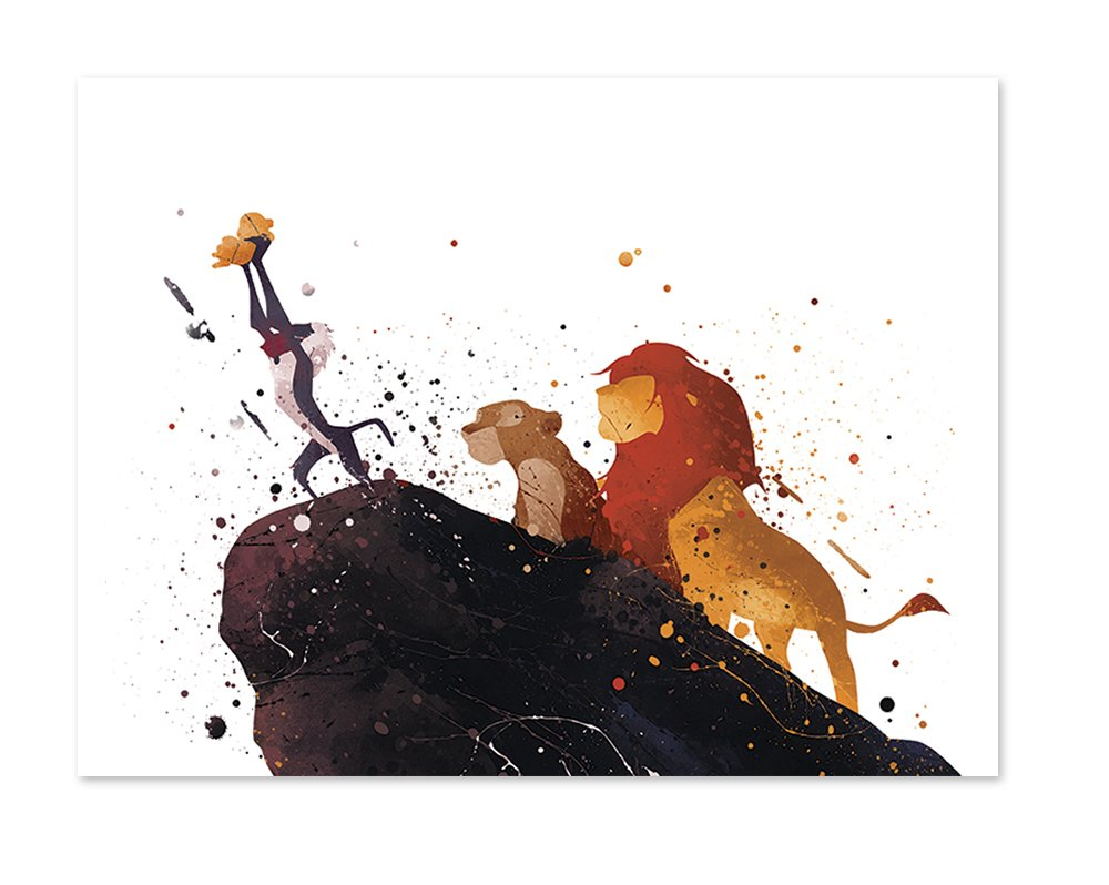 Pgbureau The Lion King Inspired Watercolor Art Print Wall Poster Home Decor Illustration 8x10 Painting Paper Print P47