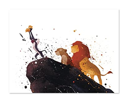 PGbureau The Lion King Inspired Watercolor Art Print Wall Poster Home Decor Illustration