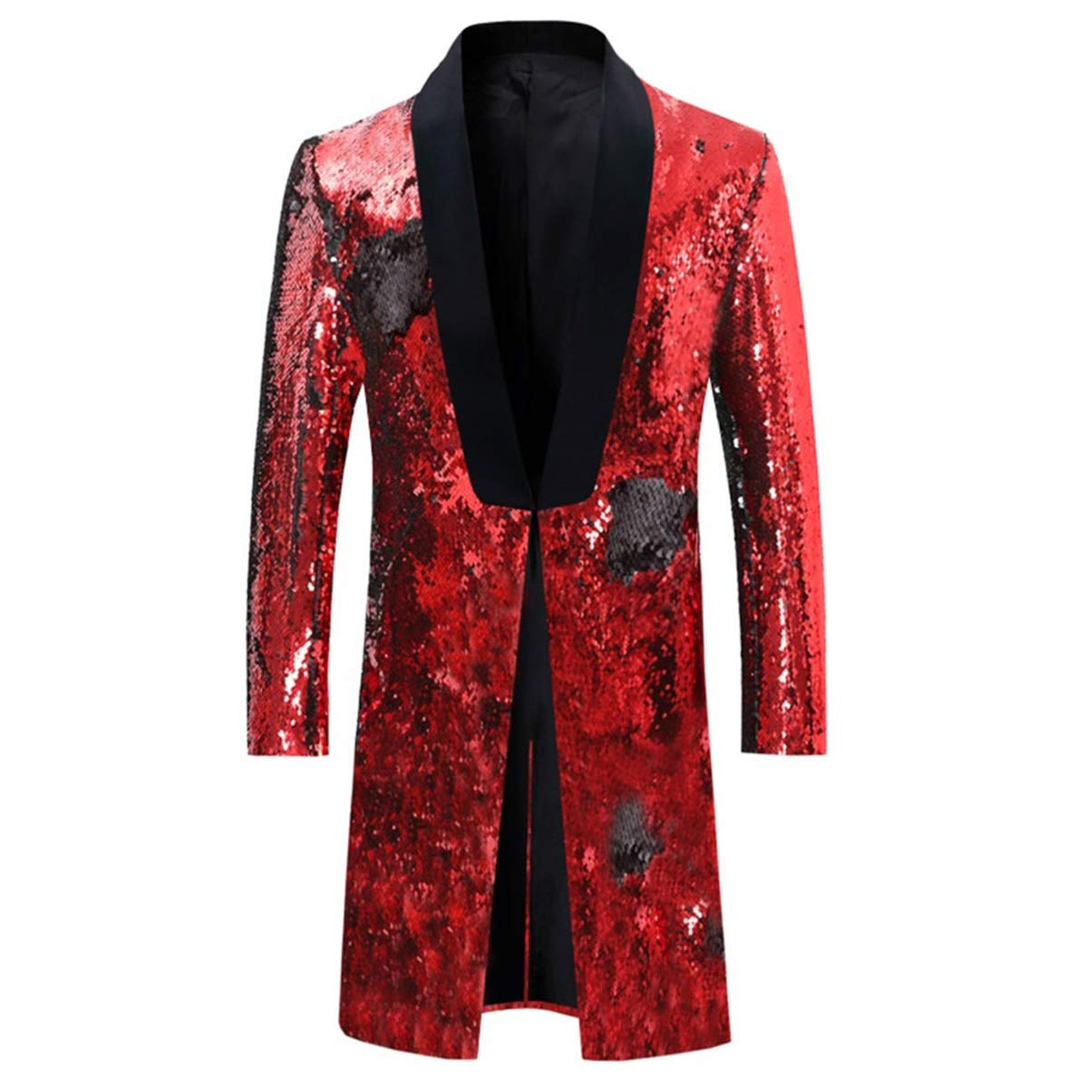 Men's Slim Fit Suit Jacket Shiny Sequin Party Wedding Performance Blazer Black - Red by Cloudstyle