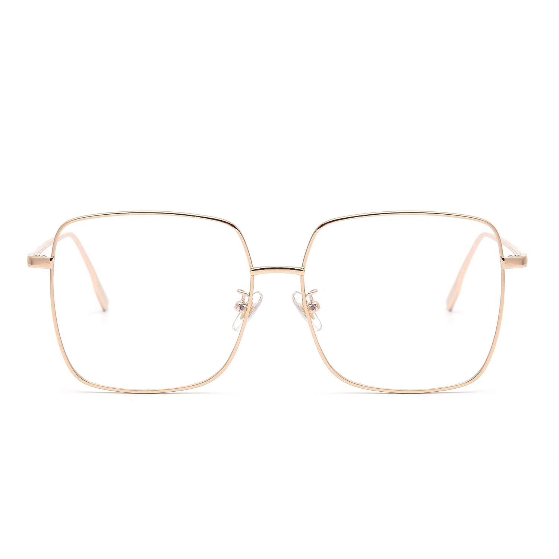 Interesantes gafas cuadradas doradas.