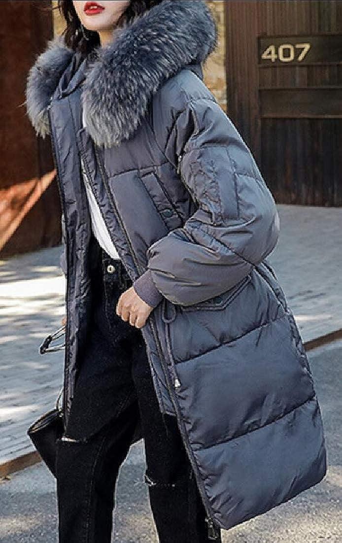 XQS Womens Winter Down Coat Faux Fur Hooded Parka Puffer Jackets