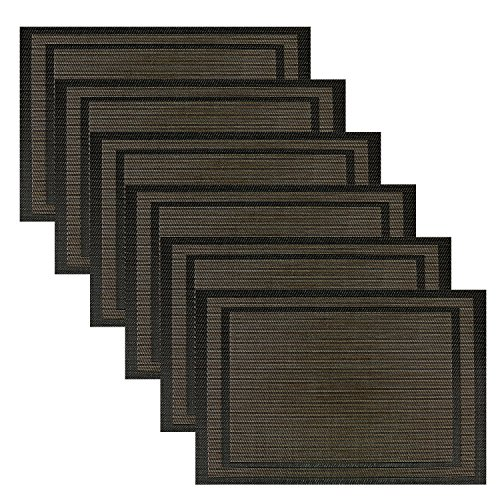 Placemats pauwer dining room placemats for table woven vinyl kitchen placemats set of 6 black - Dining room table mats ...