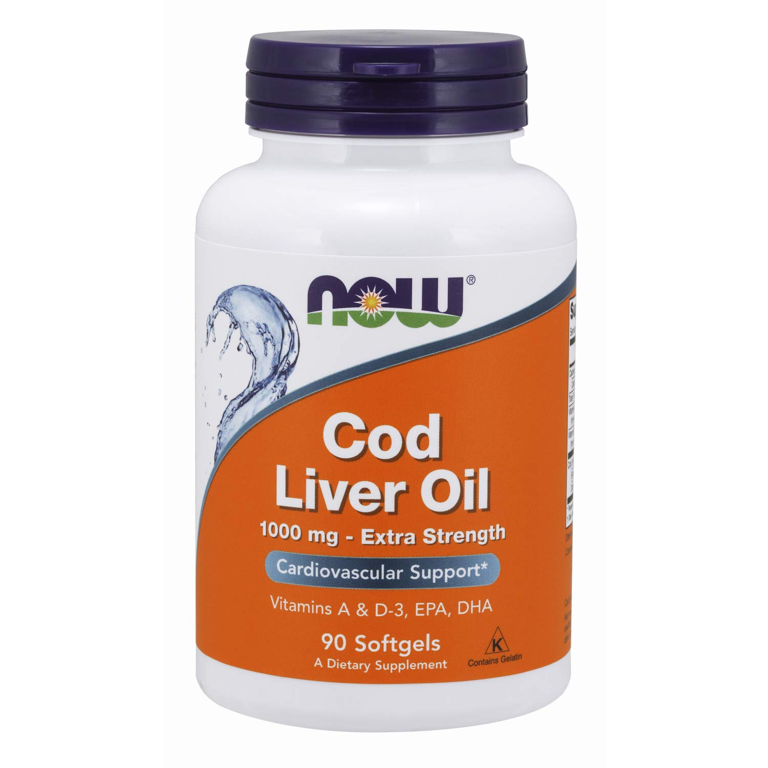 Now Supplements, Cod Liver Oil, Extra Strength 1,000 mg with Vitamins A & D-3, EPA, DHA, 90 Softgels