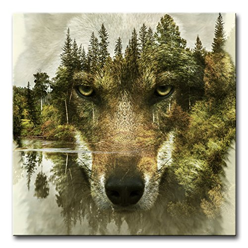 Wall Art Decor Poster Painting On Canvas Print Pictures Wolf Pine Trees Forest Water Wolf Animal Framed Picture for Home Decoration Living Room Artwork (Room Pine Living)