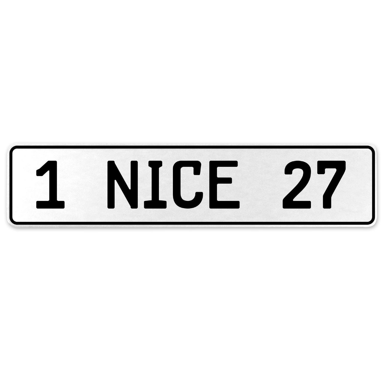 Vintage Parts 555317 1 Nice 27 White Stamped Aluminum European License Plate