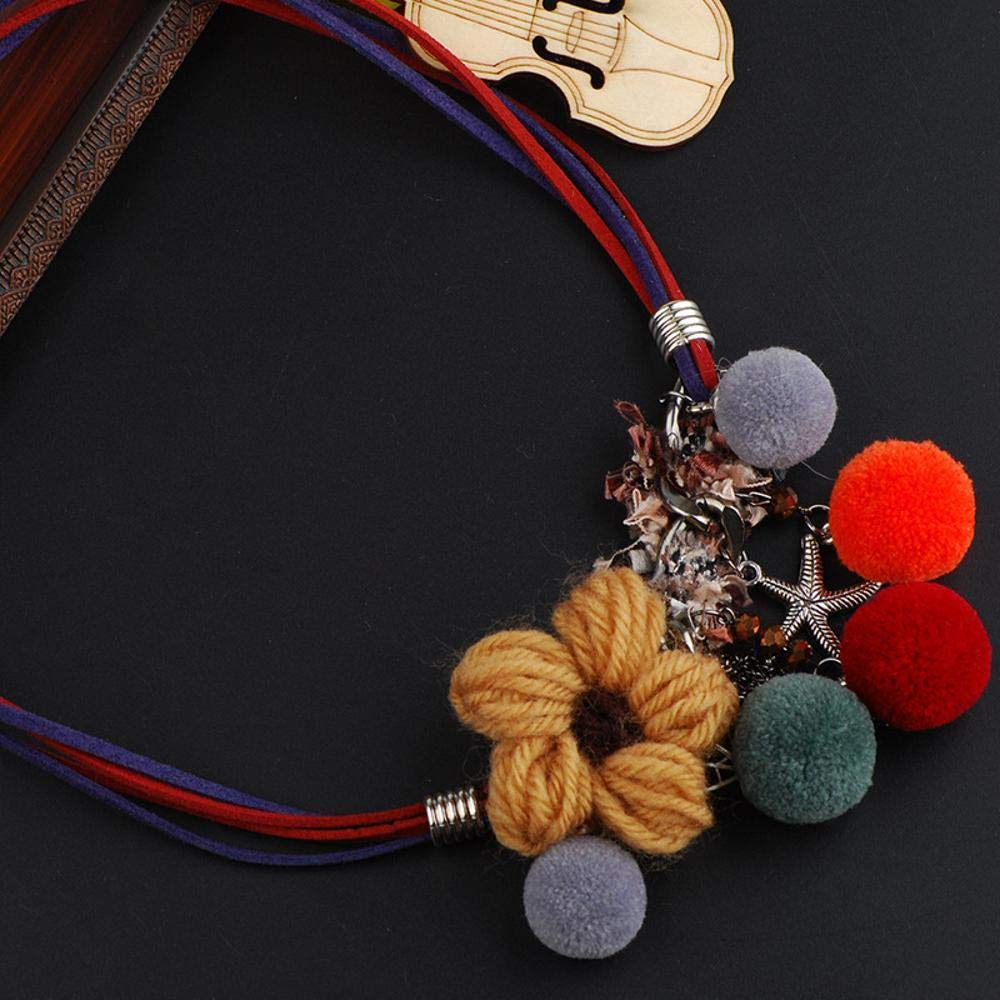 cushang Mens Pendant National Wind Color Hair Ball Tassel Resin Necklace Perimeter 52cm+5cm Extension Chain