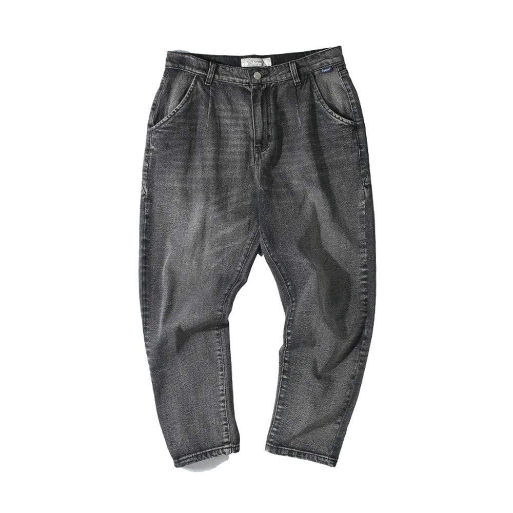EVEORSSRA Jeanshosen Retro Jugend-lose Tendenz, die Schwarze Wasser-Jeans-Männer Abnutzungs-Hosen herstellt