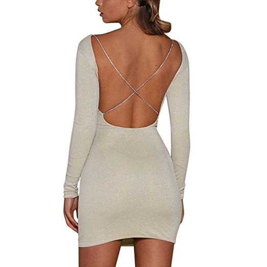 Minisoya Womens Backless Sequins Shiny Bodycon Dress Ladies Slim Evening Party Club Mini Dress (Beige