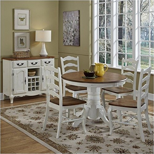 Bowery Hill 5 Piece Dining Set in Oak and Rubbed White