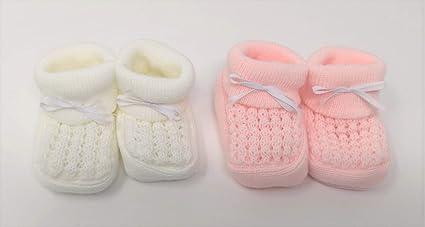 2 pares de zapatillas/patucos para bebe recién nacido, color rosa y ...