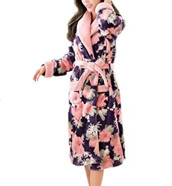 c4f9874302 Ladies Dressing Gown Womens Super Soft Luxury Fleece Print Bathrobe Robe  Hotel Shawl Collar Warm Sleepwear