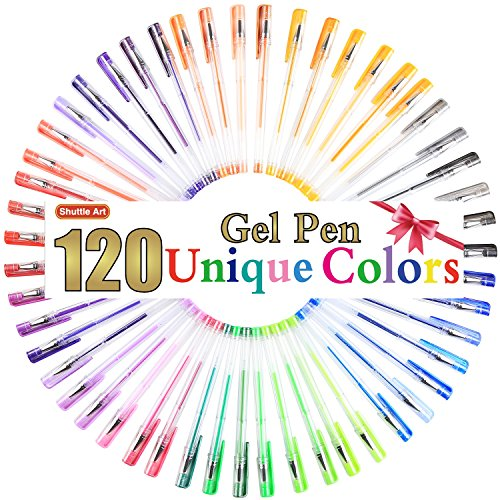 Shuttle Art 120 Unique Colors (No Duplicates) Gel Pens Gel Pen Set for Adult Coloring Books Art Markers