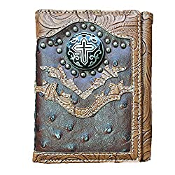 2015 New Design, Concho Cross Emblem with Beads Trifold Wallet. Ostrich Coffee.