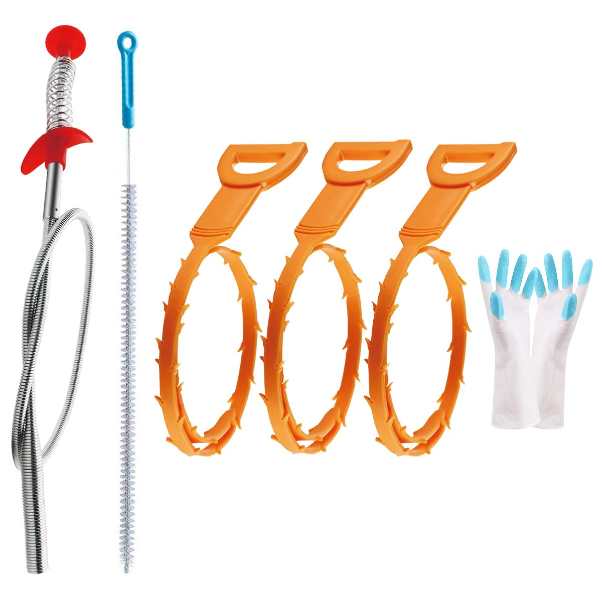 Omont Drain Clog Remover Drain Hair Remover Tool Kit,3 Pack 19.7 Inch Drain Auger 1 Pack 24 Inch Drain Relief 1 Pack 27.5 Inch Drain Cleanning Brush 1 Pair Housework Gloves