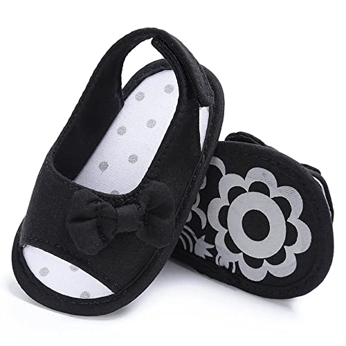 2264627c71b9f Infant Baby Girl Sandals Anti-Slip Soft Sole Bowknot Canvas Toddler Shoes