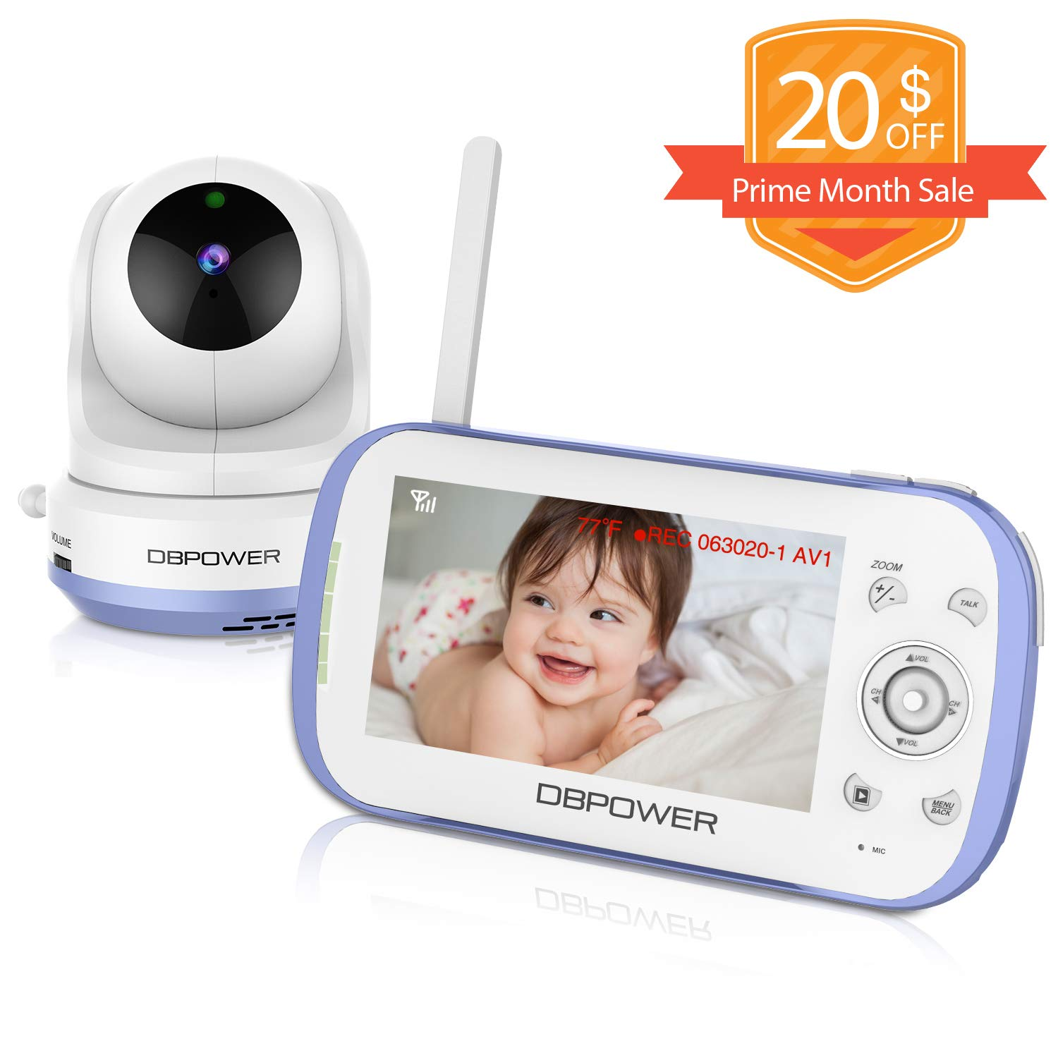 DBPOWER Video Baby Monitor with 4.3'' LCD Split Screen-Viewing Up to 4 Cameras, Long Range Two Way Talk, Night Vision, Support MicroSD Card(not Included), Pan-Tilt-Zoom, Lullabies, Temperature Monitor