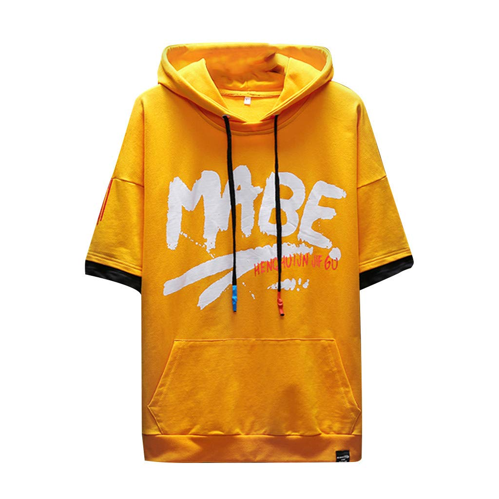DFHYAR Mens Hipster Hip Hop Casual Crew Neck Graffiti MABE Cotton Hoodie Shirts with Pocket