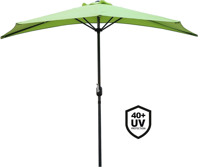 Mela verde Angel Living/® 270cm Mezzo Tondo Ombrellone in Alluminio e Poliestere Resistente Alla Ruggine Protezione UV