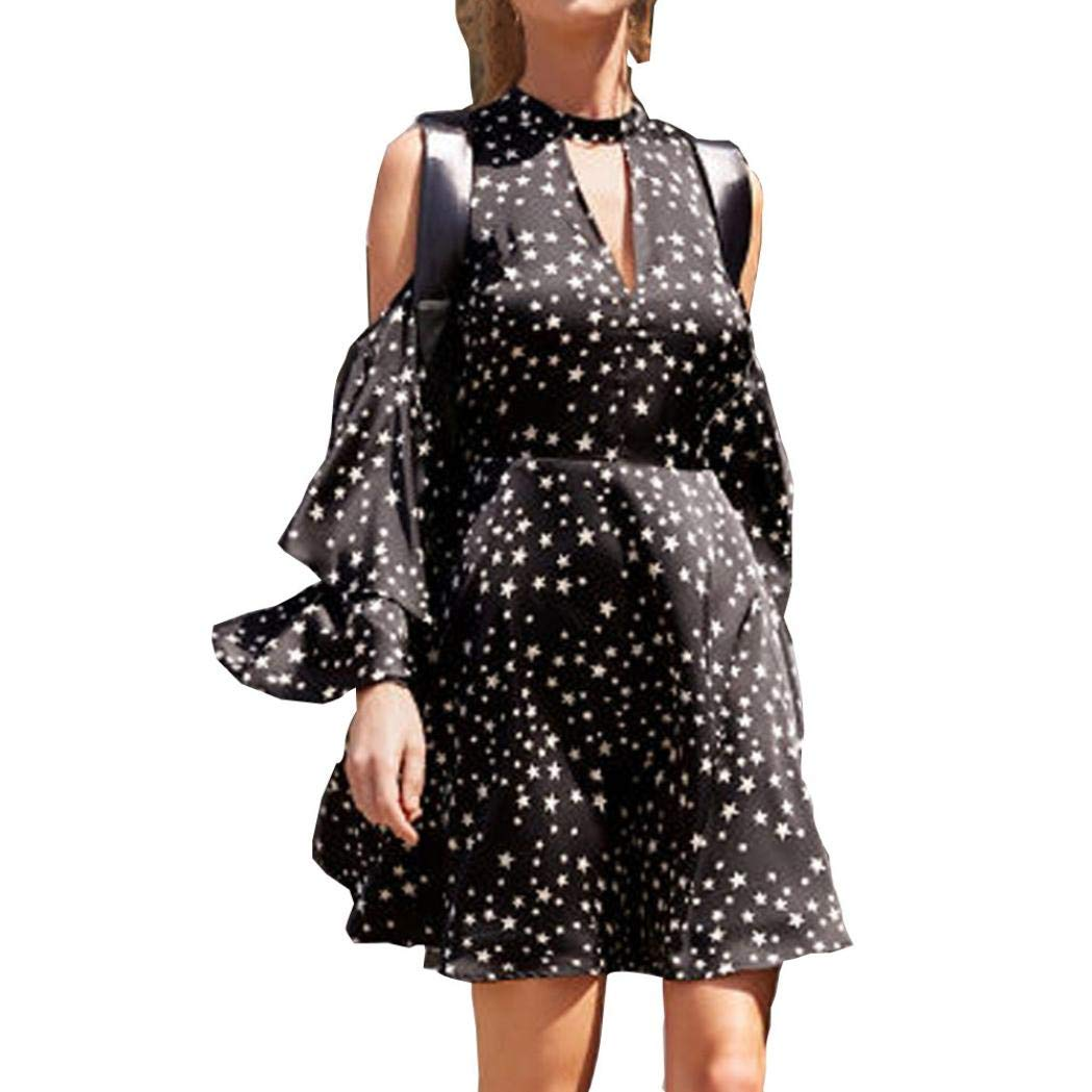 Ankola Dress Women's Swing Dress Bell Sleeve Halter Neck A-line Star Print Cocktail Mini Dress (S, Black)