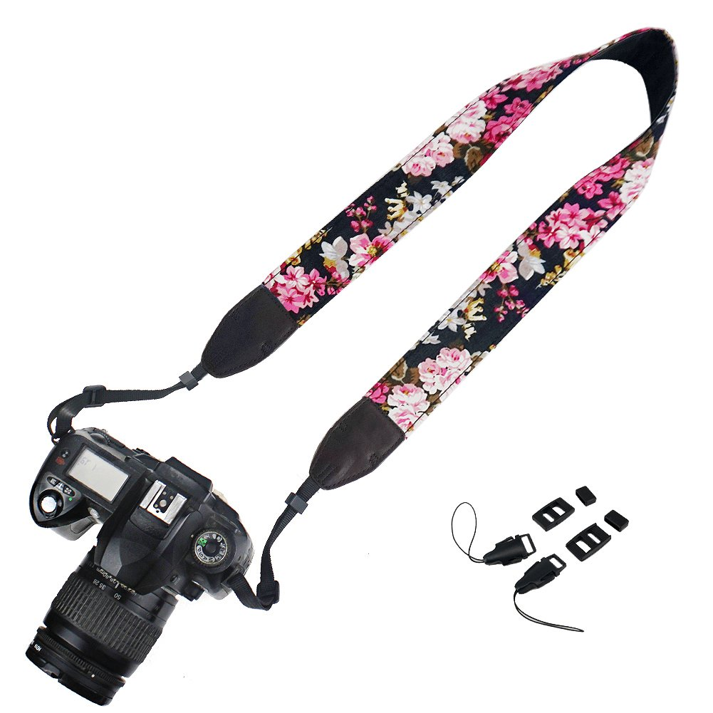 Elvam Camera Neck Shoulder Strap Belt for Nikon,Canon,Sony,Olympus,Pentax,Samsung,Leica,Fujifilm Instax Mini Camera Etc - Black Flower Floral
