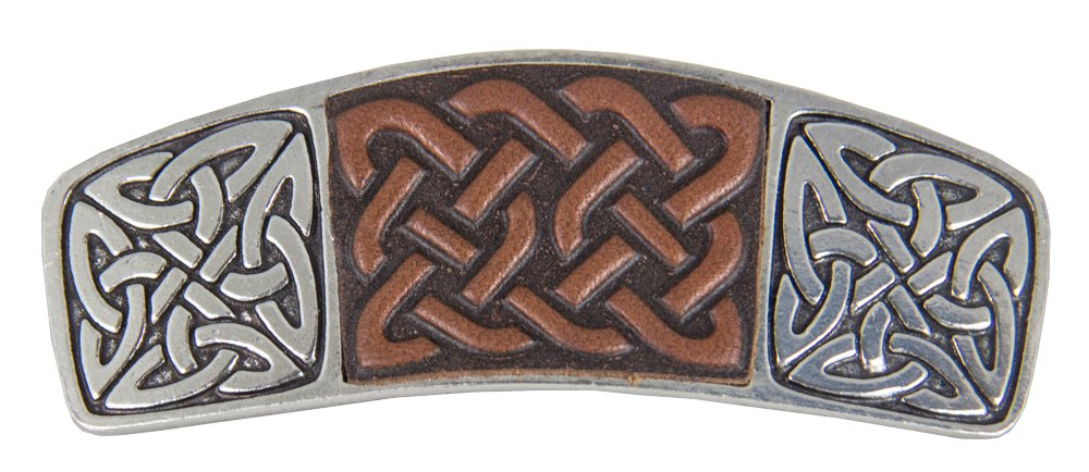 Celtic Knot Hair Clip - Hand Crafted Metal and Leather Barrette Made in the USA with imported French Clips By Oberon Design