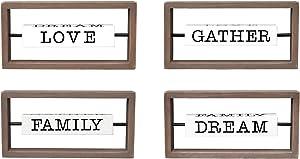 Parisloft Love Dream Family Gather Rotating Wood Tabletop Sign, Creative Freestanding Home Decor for Bedroom, Living Room, 9.87