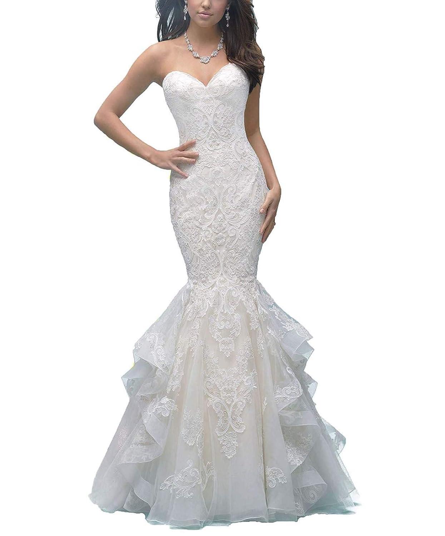 Ivory Jerald Norton Ltd Women's Sweetheart Lace Applique Wedding Dress Mermaid Ruffles Train Bride Dress White