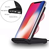 Fast Wireless Charger, IBACAKYS 2-in-1 QI Fast Wireless Charging Pad Stand with Micro USB/USB Type C Port, Support 10W Qi Certified Fast Wireless Charger Stand for Samsung Galaxy and Other Device, Standard Charge for iPhone X/iPhone 8/8 Plus
