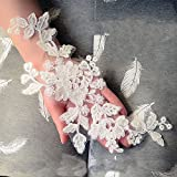 Beautiful By Design 11x5 Ivory Corded Embroidery Lace Bridal Lace Trim Lace Appliques for Bridal Gown Veils 3 Pairs