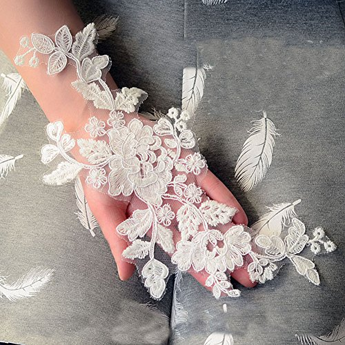 Beautiful By Design 11x5 Ivory Corded Embroidery Lace Bridal Lace Trim Lace Appliques for Bridal Gown Veils 3 Pairs by Beautiful By Design