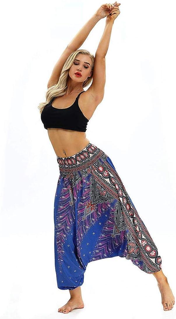SANFASHION Pantalons 2020 Floral Boho Vintage Chic Sarouel Yoga Femme D/écontract/é Jogging Trousers Style Baggy Surv/êtement Danse Pants Sport Sportwear Yoga Ete Mode Femme Pantalon de Surv/êtement