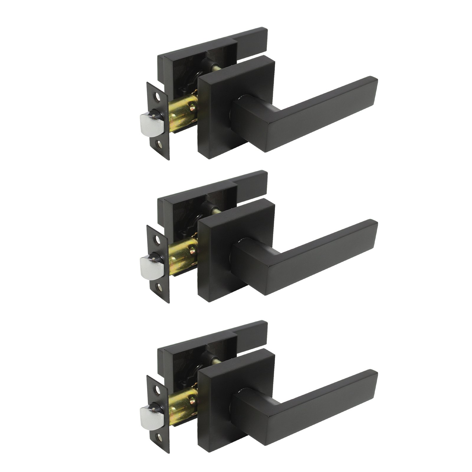 3 Pack Probrico Square Door Lever Door Lock Handle Lockset Keyless Doorknobs Passage Knobs Lockset Interior Hallway Passage Closet DL01-BK-PS in Black