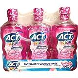 ACT Kids Anticavity Fluoride Rinse, BubbleGum Blowout, 16.9 Bottle (3-Pack)