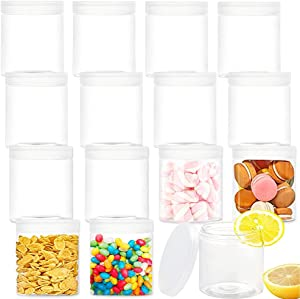 15 Pack 6 oz Clear Plastic Round Storage Jars,Plastic Jars with Lids,Clear Plastic Slime Containers for Dry Food,Beads,Jam,Slime, and Cosmetic
