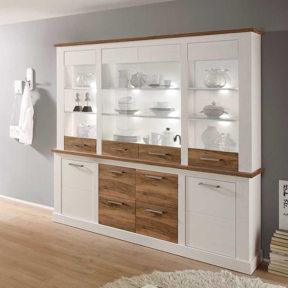 k chenbuffet mit beleuchtung wei nussbaum 2 teilig mit wei er beleuchtung pharao24 g nstig. Black Bedroom Furniture Sets. Home Design Ideas