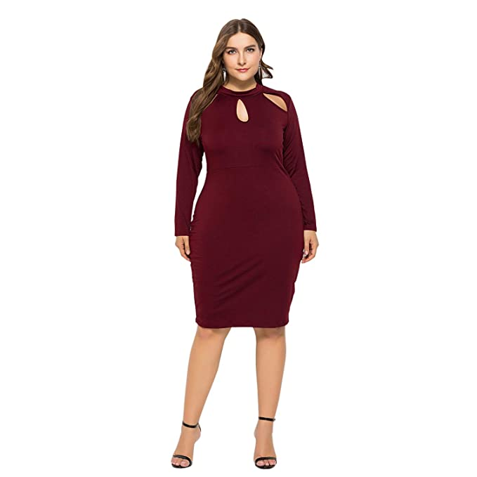 SODIAL New Ladies Plus Size Dress Hollow Out Long Sleeve Elegant ...