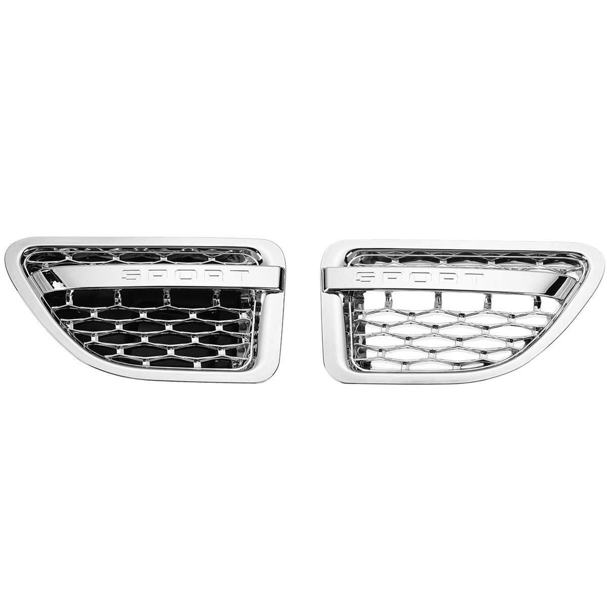CUHAWUDBA 1Pair Car Side Grille DA/éRation Grill Tuning Air Grille D/éVent C?T/é Grille pour Range Rover Sport 2005-2009 Chrome