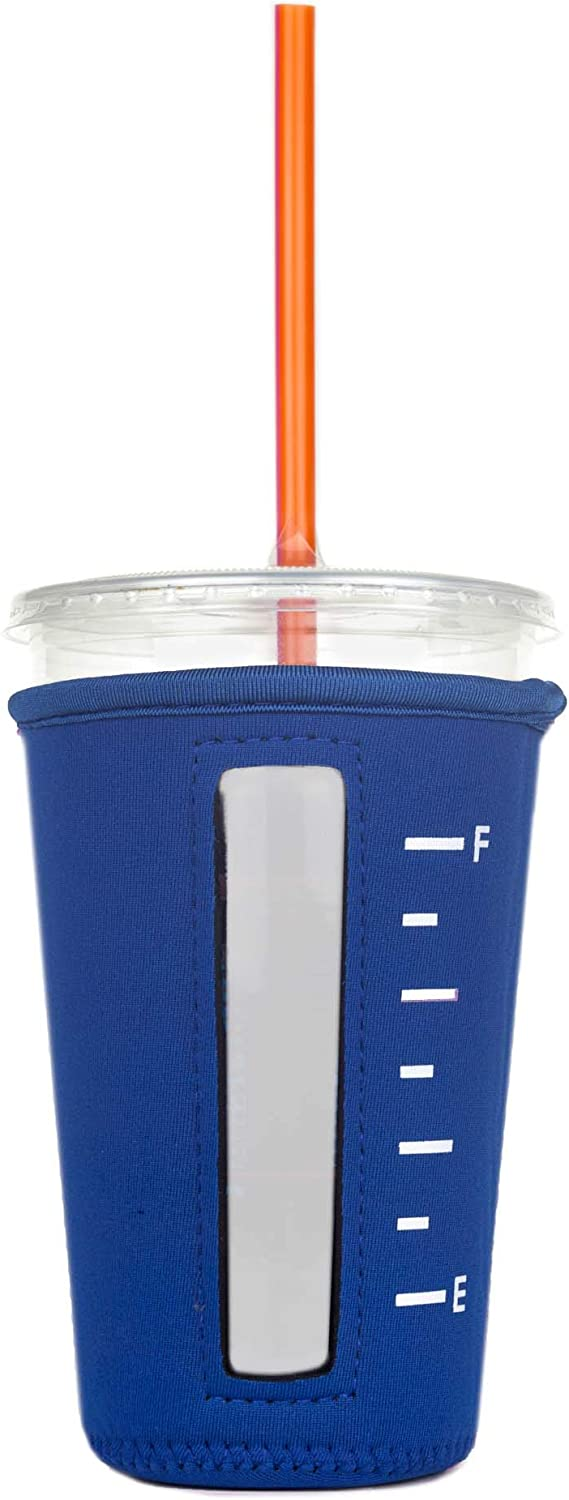 Insulated Neoprene Cup Sleeve/Holder for Iced Beverages, Coffee, and Tea (Royal Blue, Medium)
