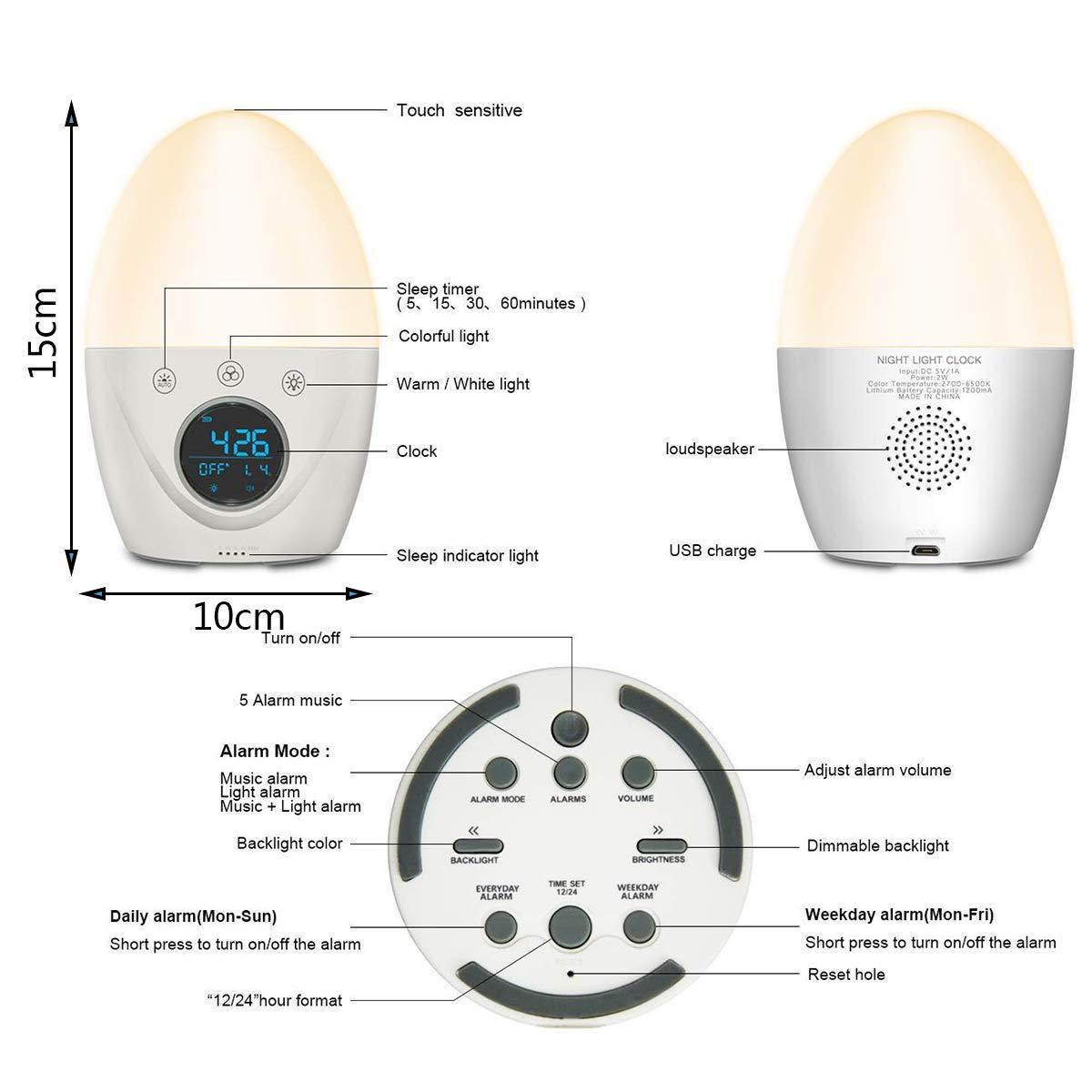 Luces-despertador Niños Lámpara Amanecer Despertador Luz Wake Up Light Reloj Digital, LED Nocturna Y Regulable Control Táctil Dormitorio Mesilla Lámpara ...