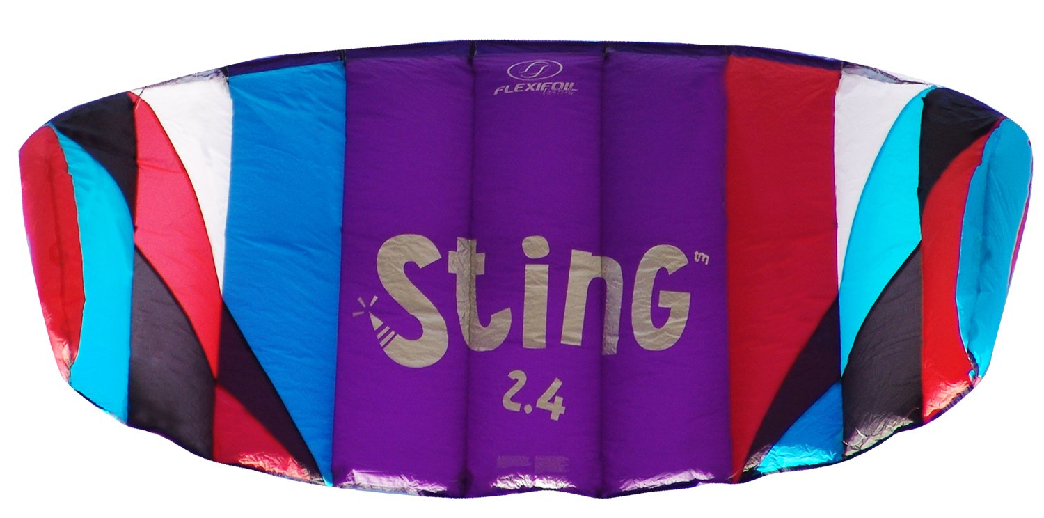Flexifoil 2.4m2/2.6m Wide Sting 4-line Power Kite with 90 Day! By World Record Power Kite Designer - Safe, Reliable and Durable Power Kiting, Kite Training and Traction Kiting.