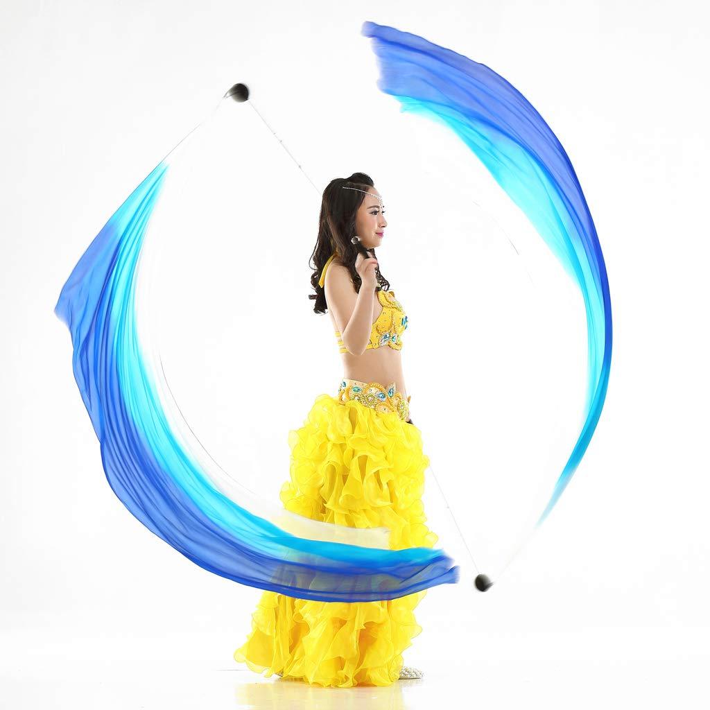Prettyia Flowy Silk Veil Poi Throw Balls for Belly Dance Yoga Dancing Accessories