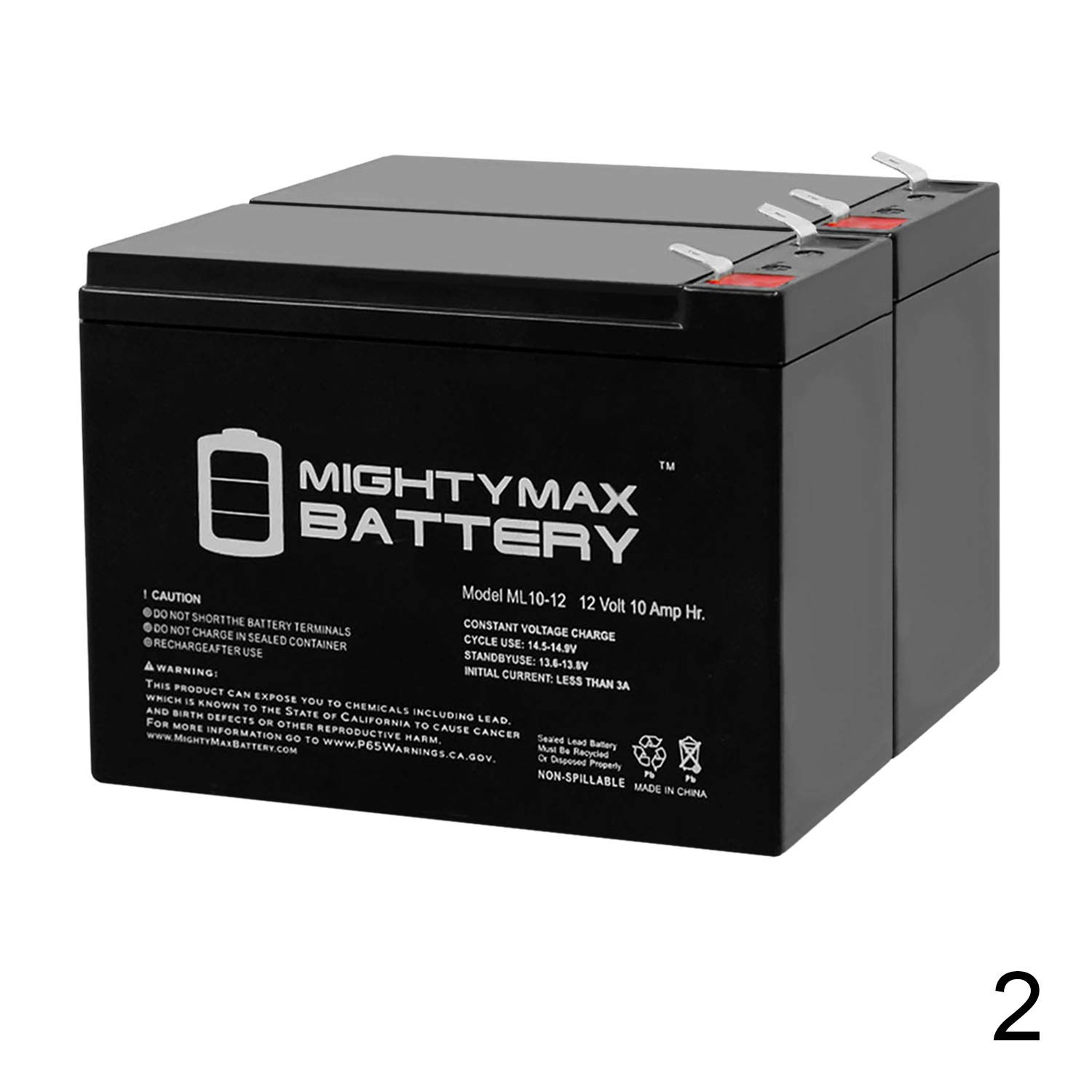 12V 10Ah New Battery for EZIP Scooter 4.0, 400, 450, 500-2 Pack by Mighty Max Battery