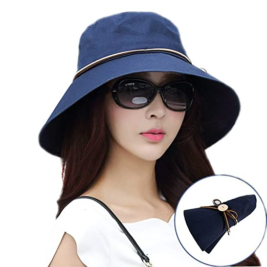 8a75e5fb645 Packable Wide Brim Sun Bucket Hat UPF 50+ Sun Protection Travel Fishing Cap