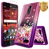 NageBee For ZTE Blade Spark Case (Z971), ZTE ZMax One (Z719DL), ZTE Grand X4 (Z956) w/ [Tempered Glass Screen Protector] Glitter Liquid Quicksand Flowing Sparkle Bling Clear Cute Case -Pink/Purple