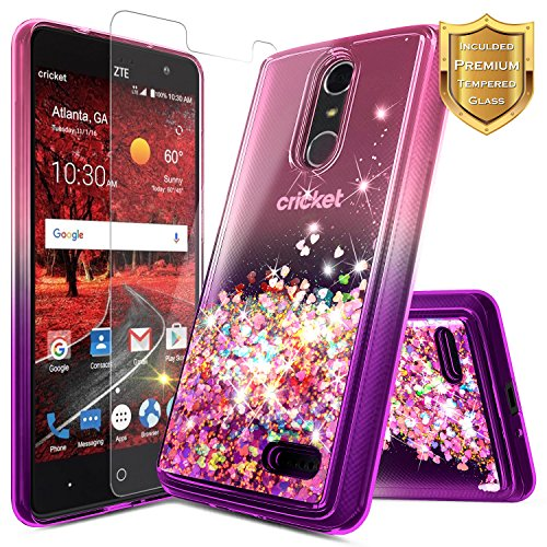 NageBee Compatible with ZTE Blade Spark (Z971) / ZMax One (Z719DL) / Grand X4 (Z956) w/[Tempered Glass Screen Protector], NageBee Glitter Liquid Quicksand Waterfall Sparkle Cute Case -Pink/Purple (Clear Grande Glass Waterfall)