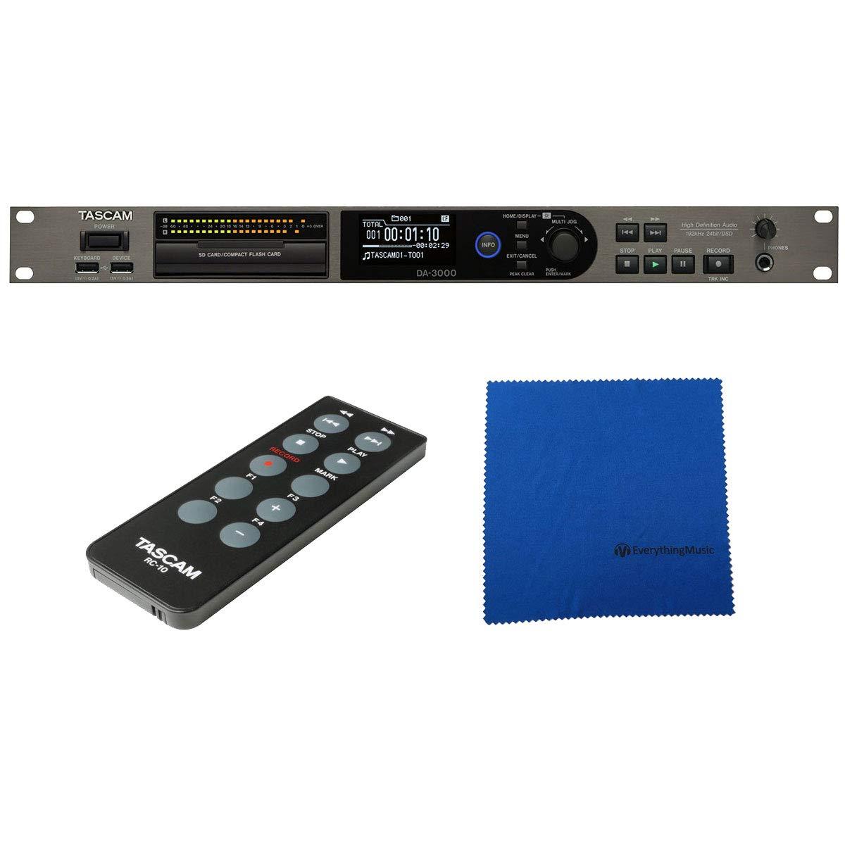 Tasdcam DA-3000 High Resolution Stereo Master Recorder and AD/DA Converter with Microfiber
