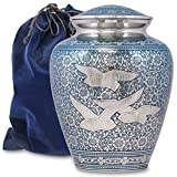 modern cremation urns - Wings of Love Elegant Adult Cremation Urn For Human Ashes - A Beautiful and Timeless Urn To Honor The One Your Love - Find Comfort Everytime You Look At This High Quality Urn - with Velvet Bag