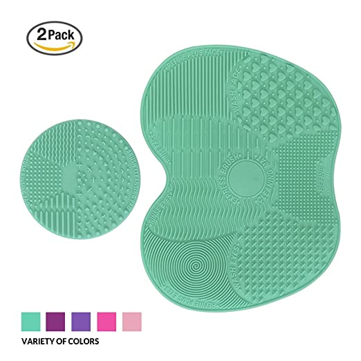 Makeup Brush Cleaning Mat, ESARORA Makeup Brush Cleaner Pad Set of 2 Cosmetic Brush Cleaning Mat Portable Washing Tool Scrubber Suction Cup (Green)
