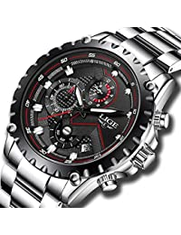 Watch for Men Waterproof Business Quartz Stainless Steel Band Sport Chronograph Wrist Watch